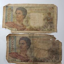 ( 2 ) 1950-60's France Indochina 20 Francs paper money banknote Papeete Tahiti