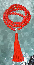 Red Coral Handmade Mala Beads Necklace - Blessed & Energized Karma Nirvana Medit