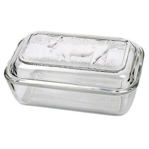 Luminarc Cow Embossed Clear Thick Glass Butter Dish with Lid 17 x 11 x 6 cm