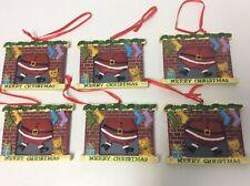 "Set 6 Santa in chimney Merry Christmas tree resin ornaments 3"" gift decoration"