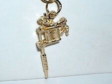 14k YELLOW GOLD 3D TATTOO GUN PENDANT CHARM
