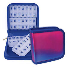 Pill Vitamins Organizer Travel Home 4-8weeks Blue Magnetic Case #PBO-R005#