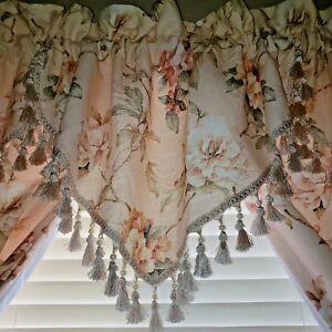 "Croscill Savoir Faire Retired Beaded Valance Draperies Curtains Panels 86"" L"