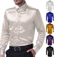 New Men Slim Fit Luxury Silk-Like Satin Long Sleeve Shirt Men Casual Dress Shirt