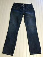 EXPRESS JEANS Women's Sz 4 Slim Ankle Distressed Dark Blue Jeans 29X28.5""