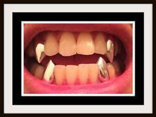 Hip Hop Vampire Dracula 14K Gold GP Single Metal Fangs Teeth Grillz 2 pc Set