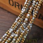 New 200pcs 4mm Round Glass Loose Spacer Beads Porcelain White Half Gold