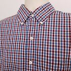 IZOD Lightweight Poplin Shirt Men's Size Large Blue White Red Plaid Long Sleeve