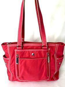 Tyler Rodan Red Large Canvas Shoulder Bag Side Bottle Pockets Purse Tote Logo