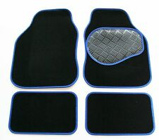 Renault Grand Scenic II (06-09) Black & Blue Carpet Car Mats - Rubber Heel Pad