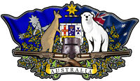 Australian coat of arms DECAL  NED KELLY BUNDY BEAR  50MM BY 28MM SET OF 2