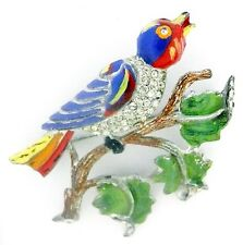 Vintage CORO Enamel BIRD on a Branch Pin ~Big Pave RS Colorful Brooch ~So Tweet!