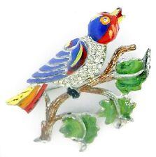Vintage CORO Enamel BIRD on a Branch Pin ~Big Pave RS Colorful Brooch ~So Tweet!
