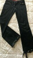Alexander McQueen Women's Black Denim Flare Frayed Distressed Jeans Size 40
