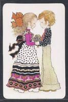 #920.062 Blank Back Swap Card -MINT- Sarah Kay, Boy gives girl flowers