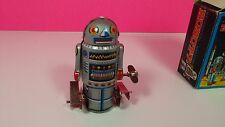 Robot-7 Vintage Wind Up Tin Box with Box Walking Figure