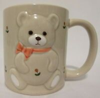 Vintage Embossed Teddy Bear Mug Flowers Ceramic Otagiri Japan Ceramic Coffee Cup