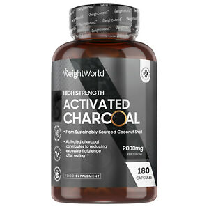 Activated Charcoal 180 Capsules for Stomach Cleanse Gas Relief & Bloating 2000mg