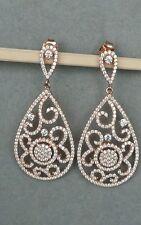 4.50ct Rose Gold silver diamonique micro pave drop earrings cz wedding