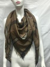 BLANKET SCARF SQUARE OVERSIZED ALL SEASON LIGHT WRAP SCARF PLAID B COLOR BROWN