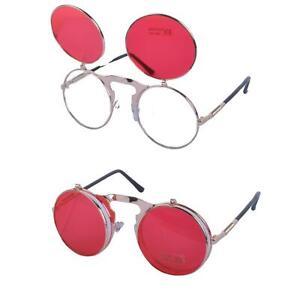 Round Flip Up John Lennon Sunglasses Retro 90s Round Rave Festival Steampunk NEW