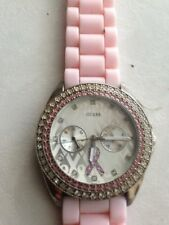 G10194L GUESS Ladies Watch Breast Cancer Pink Ribbon 2 Rows Crystal Bezel Pink