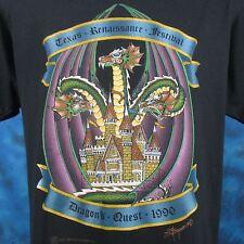 vintage 1990 TEXAS RENAISSANCE FESTIVAL DRAGON'S QUEST T-Shirt M/L fair thin 80s