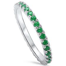 Emerald Eternity Band .925 Sterling Silver Ring  Engagement Ring