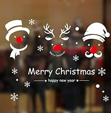 TOTOMO Christmas Snowman And Deer Window Decals Stickers Wall Décor Art