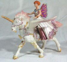2 Pc Butterfly Princess Riding Winged Flying UNICORN Pegasus Pink PAPO 2009 PVC