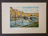 Original Bela Sziklay 1911-1981 Hand colored Etching Firenze, Pencil Signed