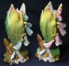 Faszinierendes Jugendstil Vasenpaar mit Pfanzen und Eidechsen, art nouveau