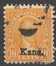 USA Scott #  668 Kansas overprint 10 Cent Used ( 668-1)