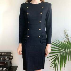 Vintage All that Jazz black long sleeve sweater dress double breasted buttons