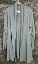 Avenue Sweater Gray Cardigan Open Front Cable Knit Cowl Women's Size 22/24