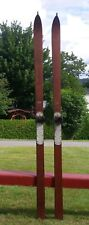 "ANTIQUE Wooden 'Northland' Skis 81"" Long w/ POINTS + LABELS Snow Skiis GREAT!"