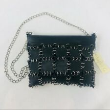 Andrea G Black Leather Chain Mail Bag Purse