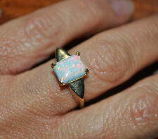 9ct gold Solid Opal ring Valuation $2275.00 bright colour Size N1/2 US 6 3/4 4gm