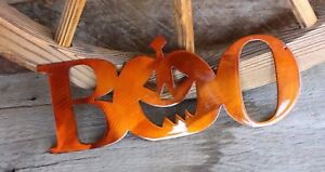 "Boo Word w/ Pumpkin - Halloween Décor - Metal Wall Art - Orange 11 1/2"" x 5"""