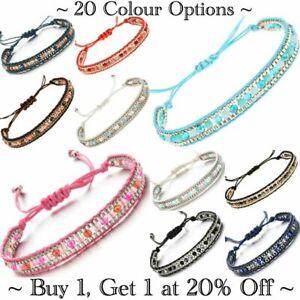 Bracelet Bangle Adjustable Beaded Cotton Jewellery Girls Womens Boho Ankle UK