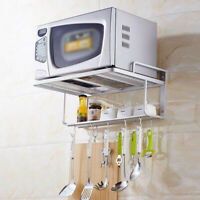 Stainless Steel Microwave Oven Shelf Rack Bracket Wall Mount With Hook