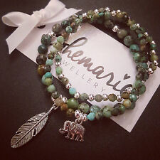 African turquoise feather charm bracelet stack of 3 gemstone bijoux jewellery