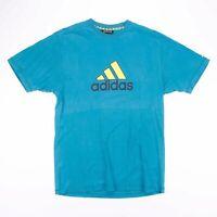 Vintage ADIDAS Turquoise Blue & Yellow Sports T-Shirt Size Men's Large