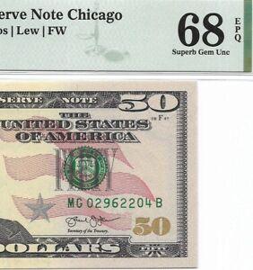 2013 $50 CHICAGO FRN, PMG SUPERB GEM UNCIRCULATED 68 EPQ BANKNOTE