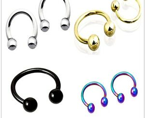 4mm Ball 6mm-14mm HORSESHOE Ring Circular Bar CBB Ear Nipple Hoop Earring Helix