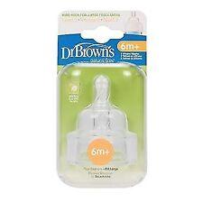 Dr Browns Natural Flow Wide Necked Teats X2 Baby/newborn Bottle Milk Feeding Level 3