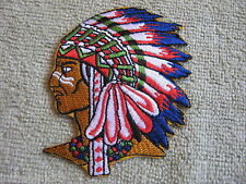Indian Chief Headress Native American Indian Patch Vest/Jacket Biker Patch New!