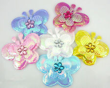 60Pcs Mixed Padded Felt Acryl Rhinestone Butterfly Appliques For Scrapbook