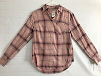 A New Day Pink Plaid Button Down Long Sleeve Blouse With Pockets  XS A38
