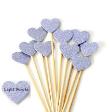 10X Glitter Love Heart Wedding Cake Topper Souvenirs Birthday Party Decoration A